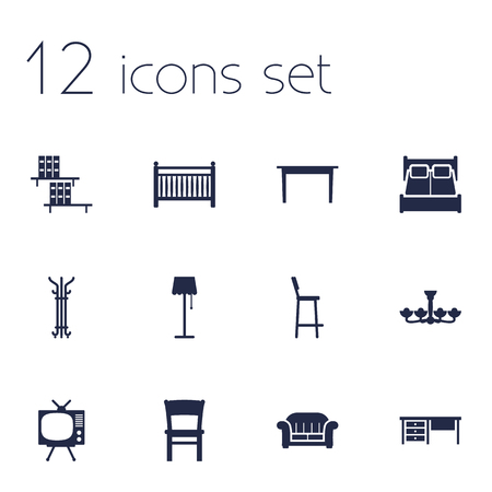 chandelier  kids: Set Of 12 Set Icons Set.Collection Of Television, Chair, Stool And Other Elements.