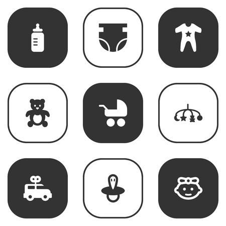 Satz von 9 Kid Icons Set.Kollektion von Kittel, Bär, Milch und anderen Elementen. Standard-Bild - 81875350