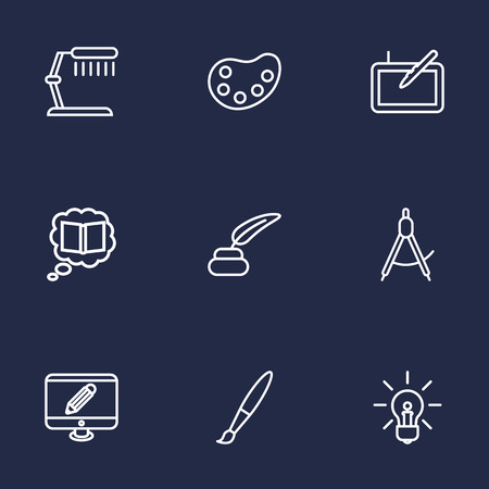 space television: Set Of 9 Creative Outline Icons Set.Collection Of Knowledge, Idea, Dividers And Other Elements.