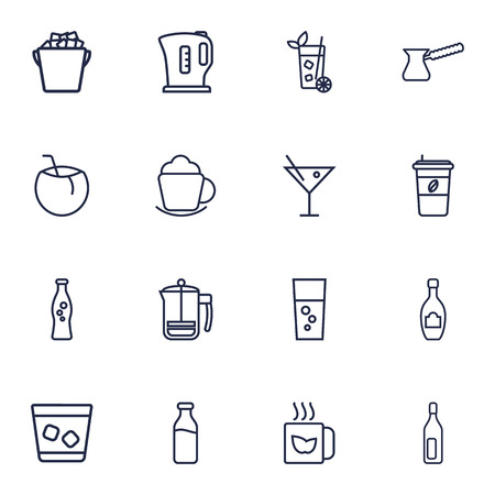 nonfat: Set Of 16 Beverages Outline Icons Set.Collection Of Cocktail, Soda, Dairy And Other Elements.