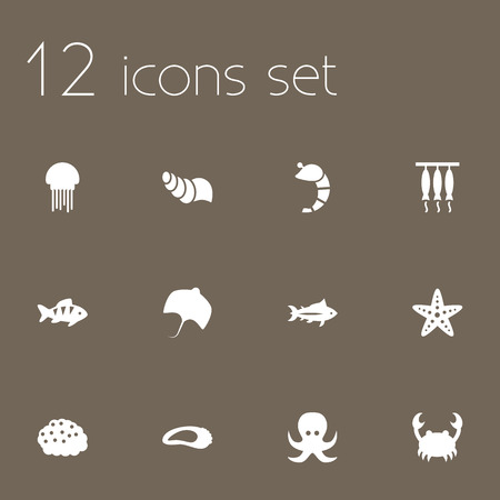 Set Of 12 Sea Icons Set.Collection Of Roe, Fish, Medusa And Other Elements.