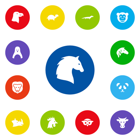 kine: Set Of 13 Animal Icons Set.Collection Of Steed, Bear, Horse And Other Elements. Illustration