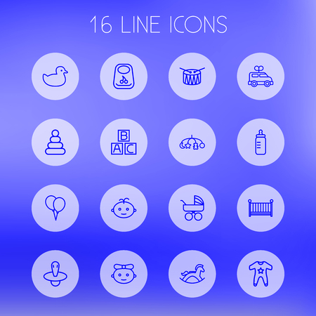 bathroom design: Set Of 16 Kid Outline Icons Set.Collection Of Rocking Horse, Alphabet Cubes, Clockwork Car And Other Elements. Illustration