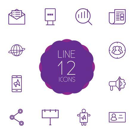 Set Of 12 Advertising Outline Icons Set.Collection Of Billboard, Brand Awareness, Newspaper Elements. Illustration