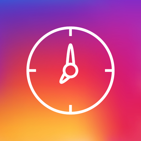 ticker: Isolated Time Outline Symbol On Clean Background. Vector Clock Element In Trendy Style.