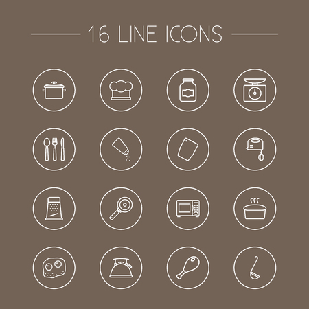 chop: Set Of 16 Culinary Outline Icons Set.Collection Of Scales, Kettle, Pan And Other Elements.