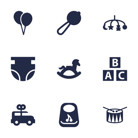 Set Of 9 Baby Icons Set.Collection Of Maraca, Bus, Equine And Other Elements.