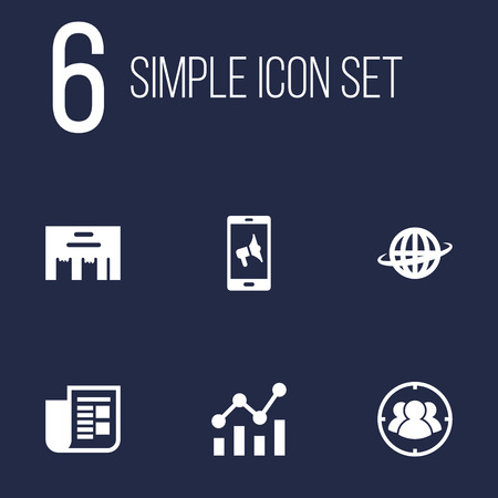 Set Of 6 Commercial Icons Set.Collection Of World, Inbox, Application And Other Elements.