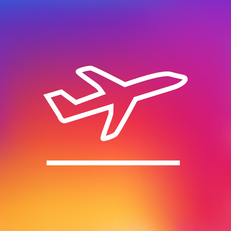 Isolated Departure Outline Symbol On Clean Background. Vector Flight Element In Trendy Style. Illustration