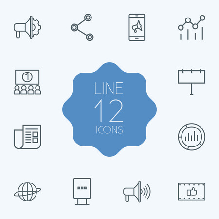 brand monitoring: Set Of 12 Commercial Outline Icons Set.Collection Of Market, Audience, Stand Elements. Illustration