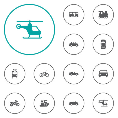Set Of 12 Shipping Icons Set.Collection Of Boat, Streetcar, Bicycle And Other Elements.