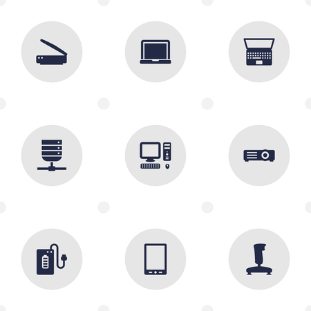 palmtop: Set Of 9 Notebook Icons Set.Collection Of Computer, Notebook, Palmtop And Other Elements.