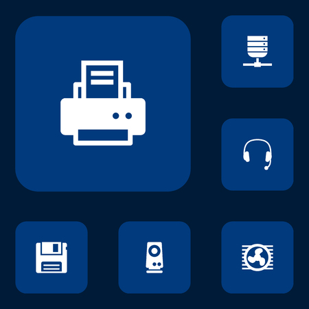 Set Of 6 Notebook Icons Set.Collection Of Headset, Datacenter, Peripheral And Other Elements.