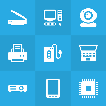 Set Of 9 Computer Icons Set.Collection Of Supply, Record, Peripheral And Other Elements. Stock Vector - 81970692