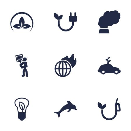 co2: Set Of 9 Bio Icons Set.Collection Of Volunteer, Friendly, Energy And Other Elements. Illustration