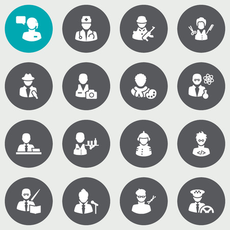 scholarly: Set Of 16 Job Icons Set.Collection Of Planner, Coder, Scholarly And Other Elements.