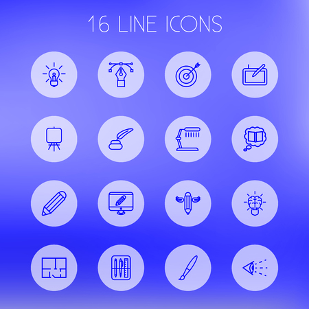 illuminator: Set Of 16 Constructive Outline Icons Set.Collection Of Graphic Tablet, Inkwell With Pen, Monitor And Other Elements. Illustration