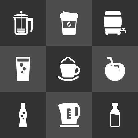 ferment: Set Of 9 Beverages Icons Set.Collection Of Milk Glass, Cask, Electric Teapot And Other Elements.