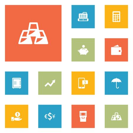 Set Of 12 Budget Icons Set.Collection Of Grown, Cashbox, Purse And Other Elements. Иллюстрация