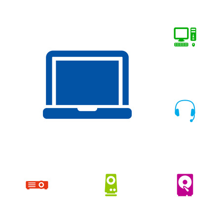 minicomputer: Set Of 6 Laptop Icons Set.Collection Of Laptop, Hard Disk, Amplifier And Other Elements.