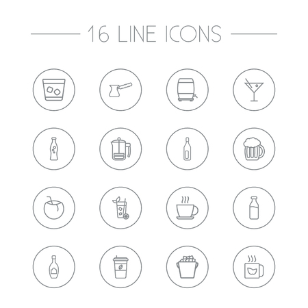 Set Of 16 Drinks Outline Icons Set.Collection Of Mug, Wine Cask, Soda And Other Elements.