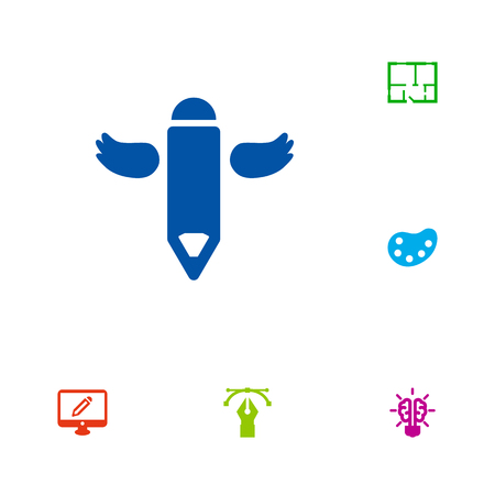 Set Of 6 Creative Icons Set.Collection Of Wings, Artist, Writing And Other Elements.