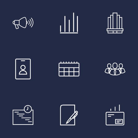 Set Of 9 Business Outline Icons Set.Collection Of Loudspeaker, Badge, Schedule And Other Elements. 向量圖像