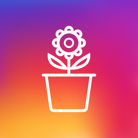 Isolated Flowerpot Outline Symbol On Clean Background. Vector Plant Pot Element In Trendy Style. Illustration