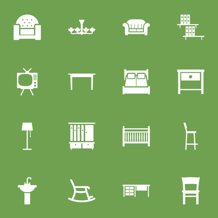 illuminator: Set Of 16 Situation Icons Set.Collection Of Illuminator, Bedroom, Cot And Other Elements.