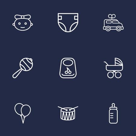 Set Of 9 Child Outline Icons Set.Collection Of Bib, Rattles, Clockwork Car And Other Elements. Illustration