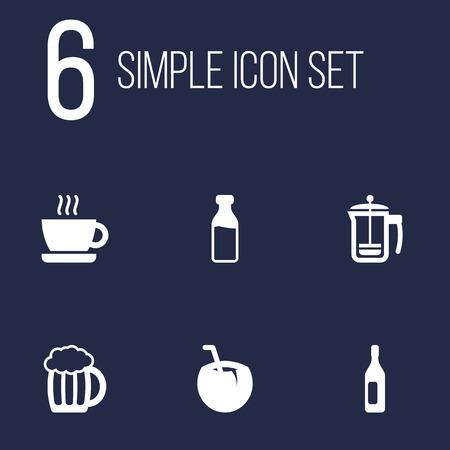 Set Of 6 Beverages Icons Set.Collection Of Pot, Cocktail, Mug And Other Elements. Illustration