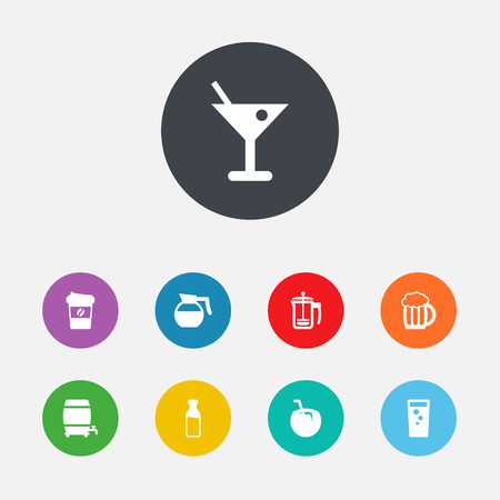 ferment: Set Of 9 Drinks Icons Set.Collection Of Soda, Milk Glass, Martini And Other Elements. Illustration