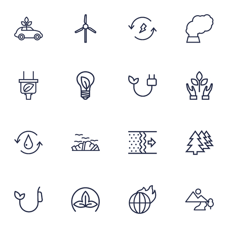 refinement: Set Of 16 Ecology Outline Icons Set.Collection Of Fuel, Landscape, Ecol Elements. Illustration