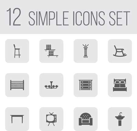 lcd tv: Set Of 12 Set Icons Set.Collection Of Commode, Bedroom, Luster And Other Elements.