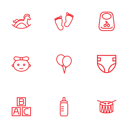 soothers: Set Of 9 Baby Outline Icons Set.Collection Of Bottle, Bib, Baby And Other Elements. Illustration