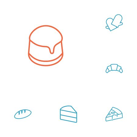 Set Of 6 Pastry Outline Icons Set.Collection Of Pudding, Cake, Bread And Other Elements. Ilustração
