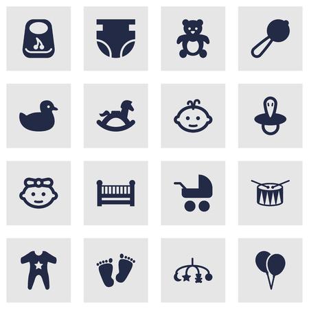 Set von 16 Kid Icons Set.Kollektion von Kittel, Kinderbett, Maraca und andere Elemente. Standard-Bild - 81995509