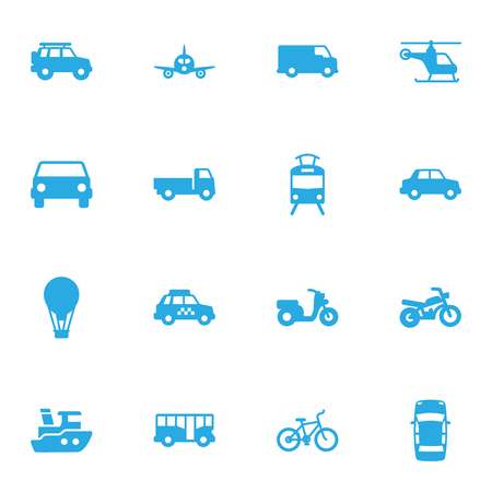 tramcar: Set Of 16 Traffic Icons Set.Collection Of Lorry, Autobus, Airship And Other Elements.