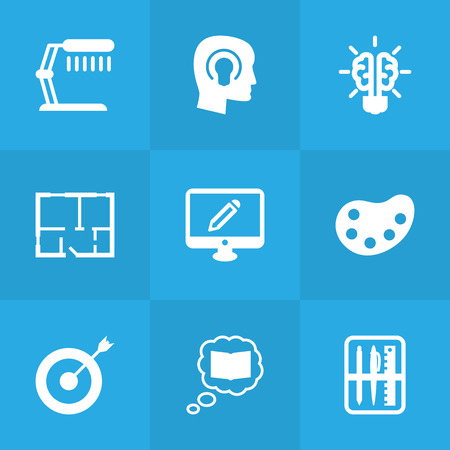 lcd tv: Set Of 9 Creative Icons Set.Collection Of Case, Illuminator, Scheme And Other Elements.
