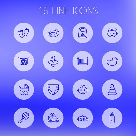 Set Of 16 Baby Outline Icons Set.Collection Of Boy, Carriage, Footprints And Other Elements.