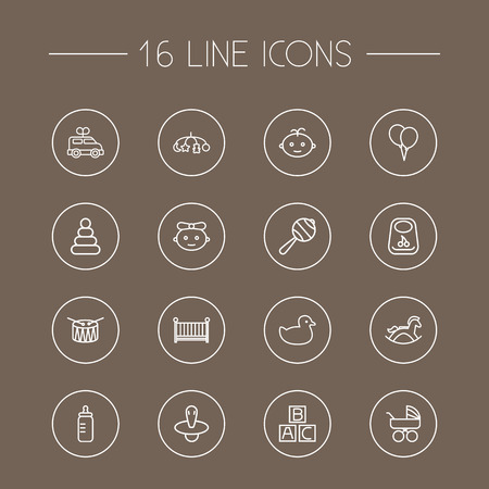 Set Of 16 Baby Outline Icons Set.Collection Of Bottle, Rubber, Toys And Other Elements.