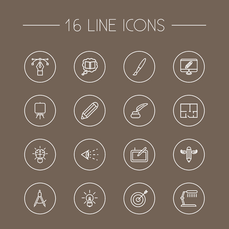 led: Set Of 16 Creative Outline Icons Set.Collection Of Dividers, Property Plan, Graphic Tablet And Other Elements.