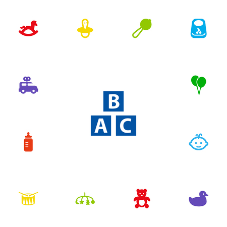 Set Of 13 Baby Icons Set.Collection Of Milk, Bus, Abc Block And Other Elements.