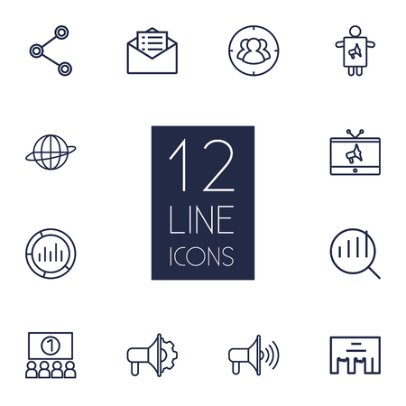ceo: Set Of 12 Trade Outline Icons Set.Collection Of Research, Advertising Agency, Audience And Other Elements.