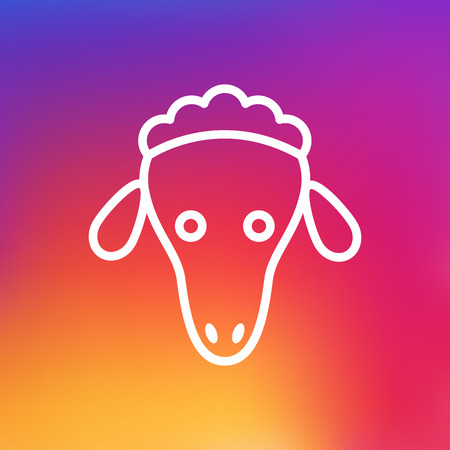 Isolated Merinos Outline Symbol On Clean Background. Vector Sheep Element In Trendy Style. Illustration