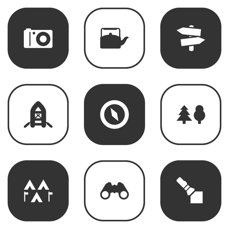 Set Of 9 Picnic Icons Set.Collection Of Photo Camera, Camp, Flashlight And Other Elements. Illustration