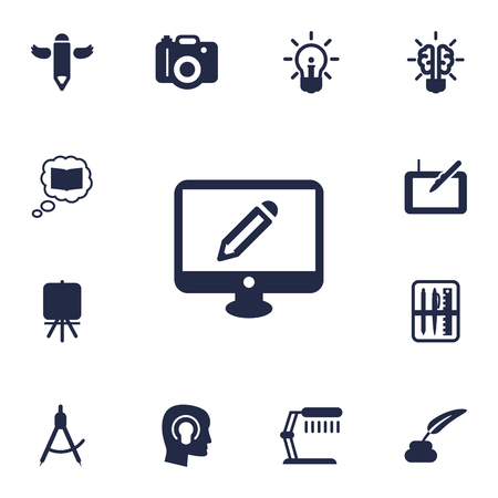 space television: Set Of 13 Creative Icons Set.Collection Of Compass, Gadget, Concept And Other Elements.