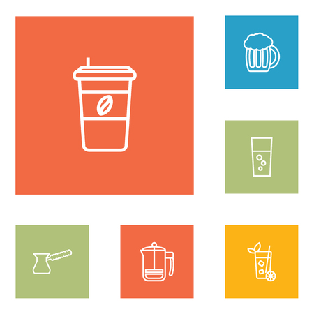 ale: Set Of 6 Drinks Outline Icons Set.Collection Of Fizzy Water, French Press, Pot And Other Elements.