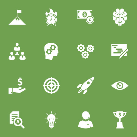 burning: Set Of 16 Idea Icons Set.Collection Of Unity, Thinking Head, Currency And Other Elements.