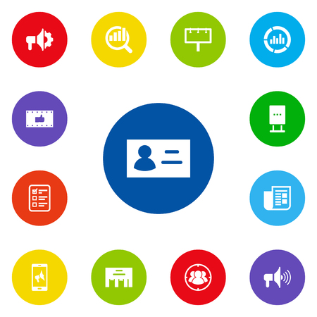delineation: Set Of 13 Advertising Icons Set.Collection Of Customer Summary, Group, Monitoring And Other Elements.